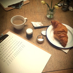 Coffee, calligraphy and pastries